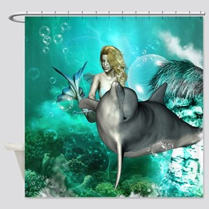 Beautiful mermaid with cute dolphin Shower Curtain