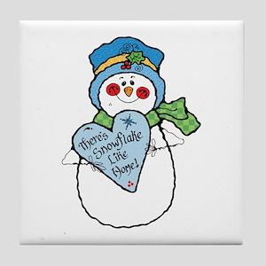 No Snowflake Like Home Snowman Tile Coaster