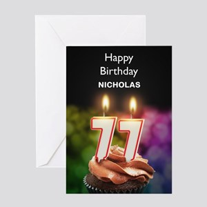 77th Birthday, Add A Name Cupcake Greeting Cards
