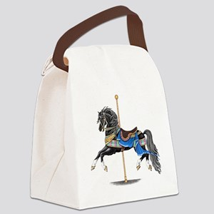 Black Carousel Horse Canvas Lunch Bag