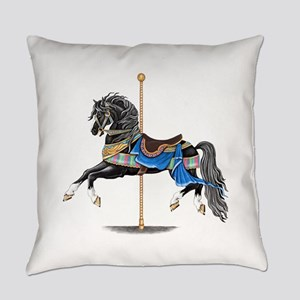 Black Carousel Horse Everyday Pillow
