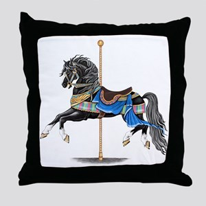 Black Carousel Horse Throw Pillow