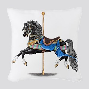 Black Carousel Horse Woven Throw Pillow