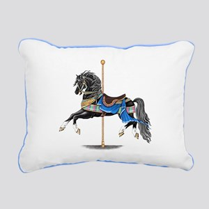 Black Carousel Horse Rectangular Canvas Pillow