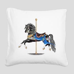 Black Carousel Horse Square Canvas Pillow