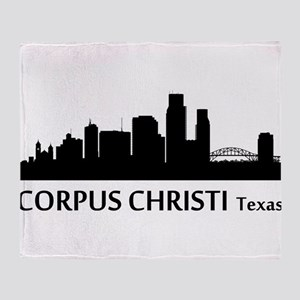 Corpus Christi Cityscape Skyline Throw Blanket