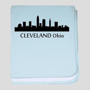 Cleveland Cityscape Skyline baby blanket