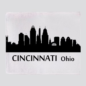 Cincinnati Cityscape Skyline Throw Blanket