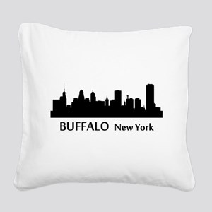 Buffalo Cityscape Skyline Square Canvas Pillow