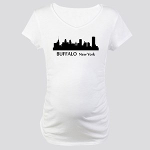 Buffalo Cityscape Skyline Maternity T-Shirt