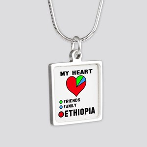 My Heart Friends, Family a Silver Square Necklace