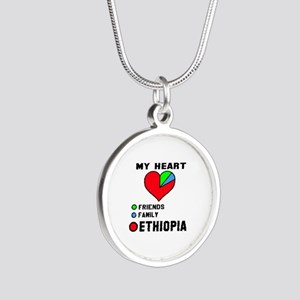 My Heart Friends, Family and Silver Round Necklace