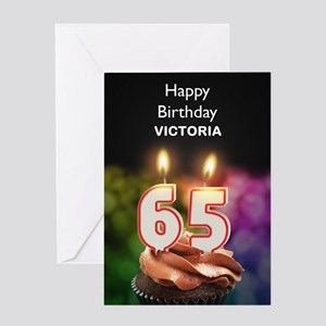 65th Birthday Add A Name Cupcake Greeting Cards