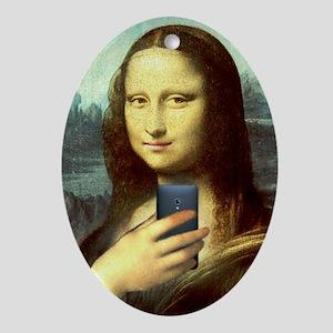 Mona Lisa Selfie Oval Ornament
