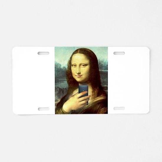 Mona Lisa Selfie Aluminum License Plate