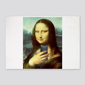 Mona Lisa Selfie 5'x7'Area Rug
