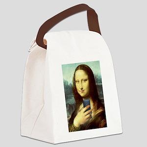 Mona Lisa Selfie Canvas Lunch Bag