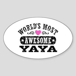World's Most Awesome Yaya Sticker (Oval)