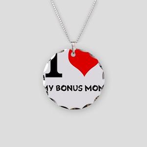 I Love My Bonus Mom Necklace Circle Charm