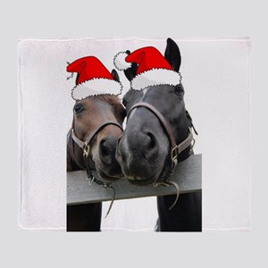 Christmas Horses Throw Blanket