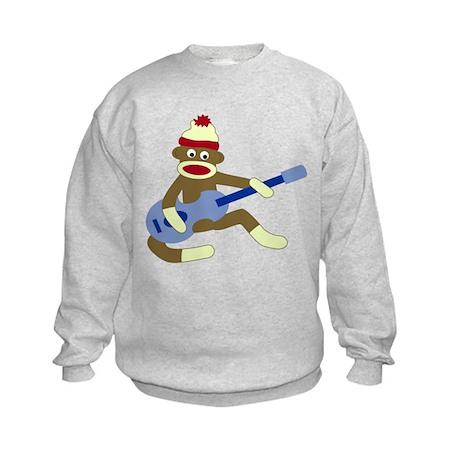Sock Monkey Blue Guitar Kids Sweatshirt