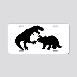 Tyrannosaur and Triceratops Aluminum License Plate