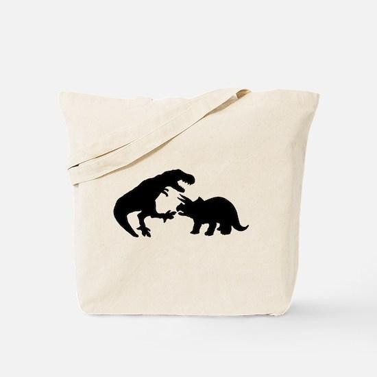 Tyrannosaur and Triceratops b Tote Bag