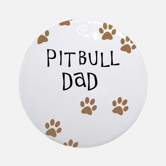 Pitbull Dad Round Ornament