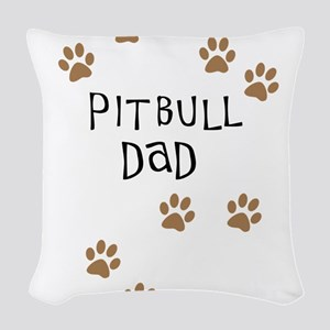 Pitbull Dad Woven Throw Pillow