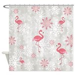 Winter Snowflakes And Flamingos Shower Curtain