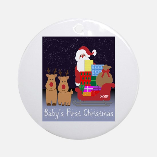 Baby's first Christmas 2015 dated Round Ornament