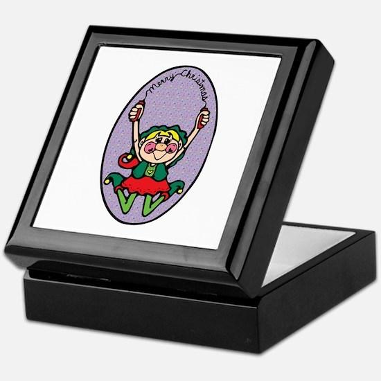 Merry Christmas Girl Elf Keepsake Box
