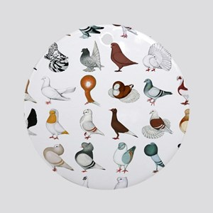 36 Pigeon Breeds Round Ornament