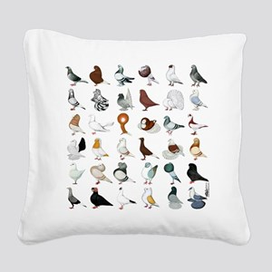 36 Pigeon Breeds Square Canvas Pillow