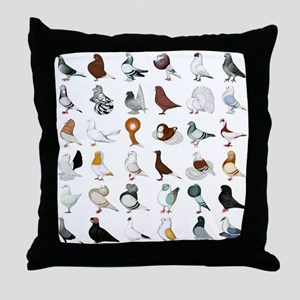 36 Pigeon Breeds Throw Pillow