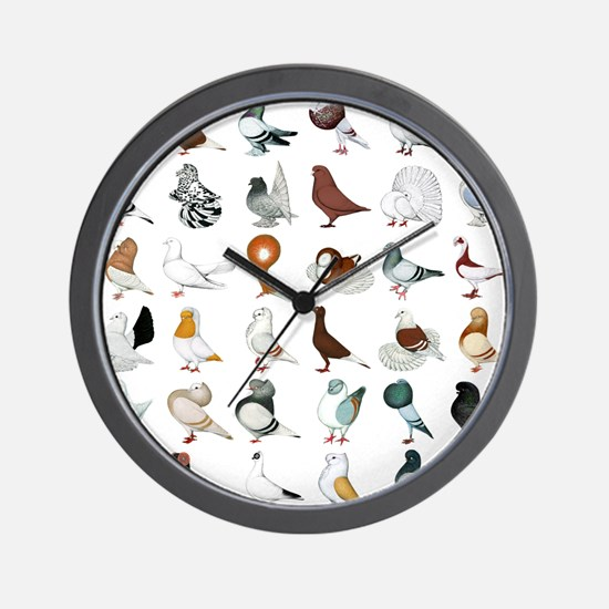 36 Pigeon Breeds Wall Clock