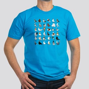 36 Pigeon Breeds Men's Fitted T-Shirt (dark)