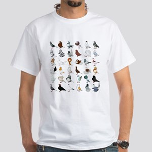 36 Pigeon Breeds White T-Shirt