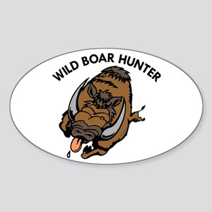 Wild Boar Hunter Oval Sticker