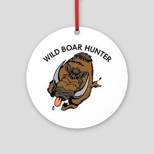 Wild Boar Hunter Ornament (Round)
