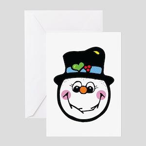 Cute Silly Snowman Face Greeting Card