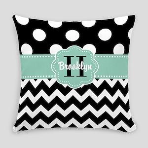 Black Mint Chevron Personalized Everyday Pillow