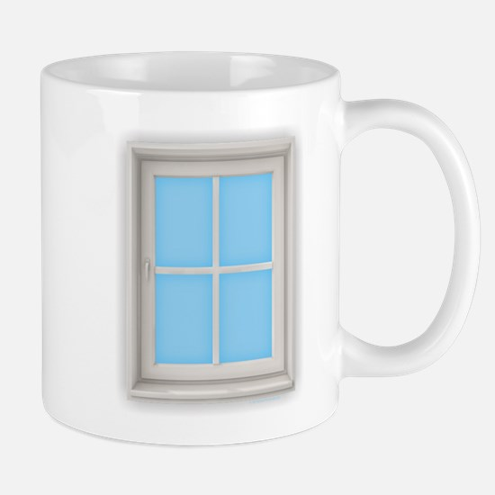 Window Blue Mugs