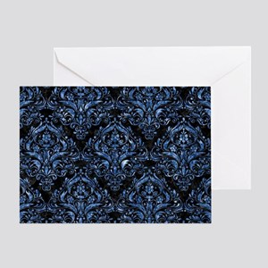 DAMASK1 BLACK MARBLE & BLUE MARBLE Greeting Card