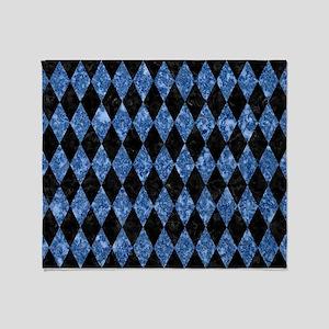DIAMOND1 BLACK MARBLE & BLUE MARBLE Throw Blanket