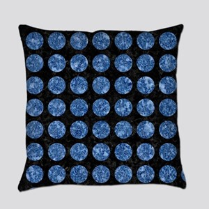 CIRCLES1 BLACK MARBLE & BLUE MARBL Everyday Pillow