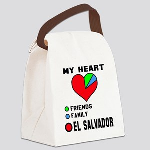 My Heart Friends, Family and El S Canvas Lunch Bag