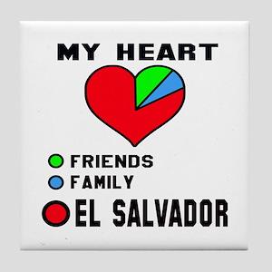 My Heart Friends, Family and El Salva Tile Coaster