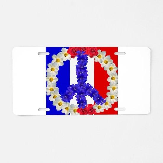 peace sign paris Aluminum License Plate
