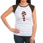 Happy Smiley Candy Cane Women's Cap Sleeve T-Shirt